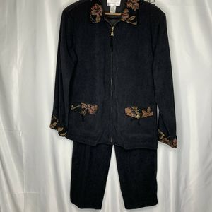 Susan Graver Jacket With Tapestry Trim And Pants